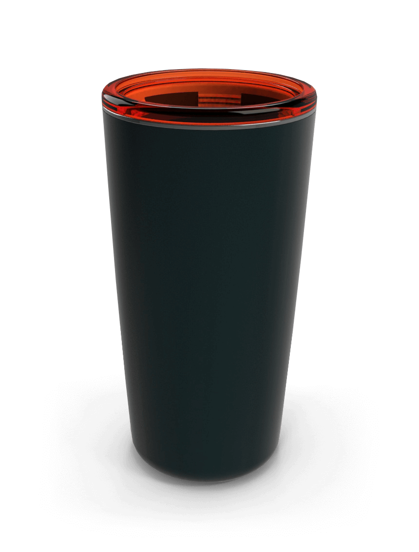 Black and red tumbler cup